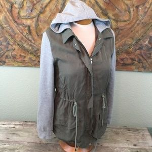 Hive & Honey hooded jacket cinch waist color block
